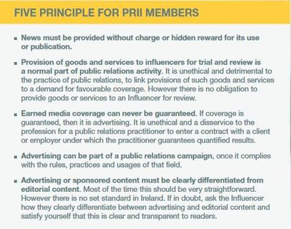 Text taken from Public Relations Institute of Ireland's code on Social Media Influencers and working with marketing agencies